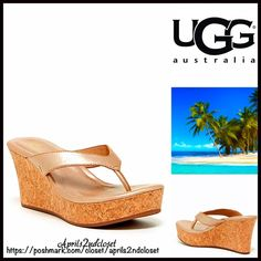 "UGG Wedge SANDALS Platform Heels UGG AUSTRALIA Wedge Sandals Platform NEW WITH TAGS   * Slip on thong style straps  * Approx. 3"" high heels & 1.25"" front platform.  * Padded footbed w/slight arch support  * Wedge platform cork footbed, metallic gold washed finish upper & rubber soles  * Gold stud hardware; Made with water resistant materials  * True to size Material:Leather upper & lining & rubber sole.  Color:Gold washed Item:97500  No Trades ✅ Offers Considered*✅ *Please use the blue…"