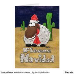 Funny Fleece Navidad Cartoon Sheep Christmas Card