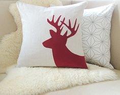 Deer Pillow Cover Luxe Lodge by VixenGoods on Etsy