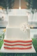 Wedding Cake inspiration #3 (No pearl accents and no flower, maybe replace with a bow)