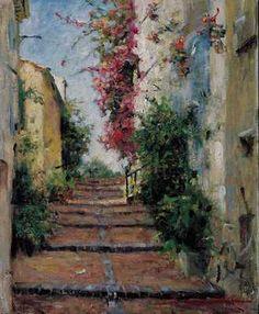 Rue De St Tropez 2001 by Leonard Wren |Leonard Wren Paintings