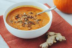 The most perfect pumpkin soup with pumpkin ginger and cinnamon.
