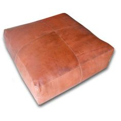 Pouf leather silver