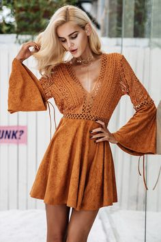 Suede Lace Dress with Flare Sleeves