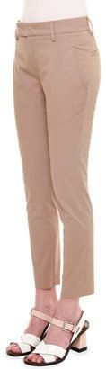 Shop Now - >  https://api.shopstyle.com/action/apiVisitRetailer?id=495133750&pid=2254&pid=uid6996-25233114-59 Jil Sander Mid-Rise Zipper-Cuff Slim Pants, Khaki  ...