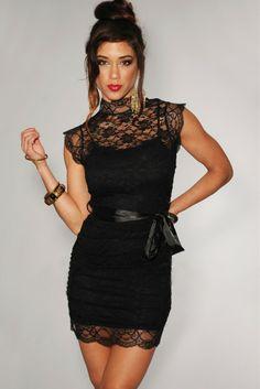 100%Polyester Fashion Black High Neck Sleeveless Lace Dress Women Slim Dress with Belt