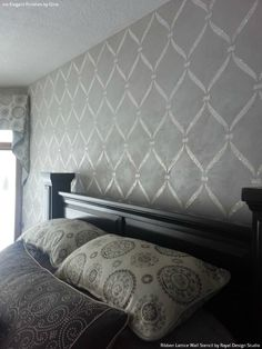 Designer Gray Bedroom Makeover And Painted Accent Wall   Ribbon Lattice Wall  Stencils   Royal Design