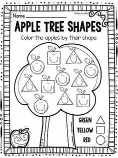 Apples Theme Shapes Activities for your Apples Unit : Apple tree ADORABLE color by shape worksheets that students will LOVE - perfect for fall back to school kindergarten and first grade activities Preschool Apple Theme, Fall Preschool, Preschool Classroom, Preschool Learning, Kindergarten Worksheets, Classroom Activities, Kindergarten Apples, Apple Activities Kindergarten, Preschool Apples