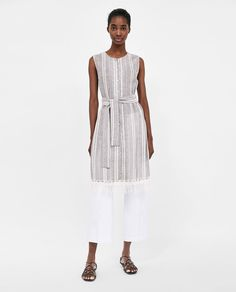 2c1b85c3a1c7 Image 1 of STRIPED RUSTIC DRESS from Zara Hvid Kjole