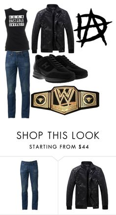 """Dean Unstable Ambrose RingGear"" by ajrollins ❤ liked on Polyvore featuring Urban Pipeline, Hogan, WWE, men's fashion and menswear"