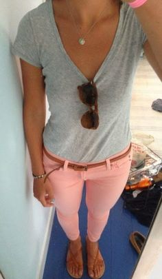 Light Grey Shirt, Light Pink Pants, Brown, Slim Belt, Brown Sunglasses, Brown Sandal And Simple, But Beautiful Necklace. | Street Fashion