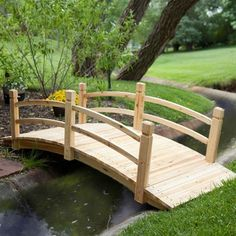 8-Ft Freestanding Landscape Garden Bridge in Unfinished Fir Wood - Quality House