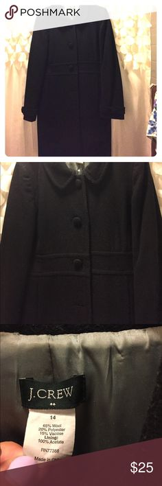 J Crew pea coat size 14 Love this all black JCrew peacoat! It's missing the bottom button on the front and is also sporting a bit of fuzz but otherwise this is a great coat! Very warm looks great on! Make me an offer I can't refuse because winter is coming! J. Crew Jackets & Coats Pea Coats