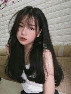 Korean Haircut Long, Korean Hairstyle Long, Korean Hairstyles Women, Asian Haircut, My Hairstyle, Girl Hairstyles, Straight Hairstyles, Japanese Hairstyles, Long Asian Hairstyles