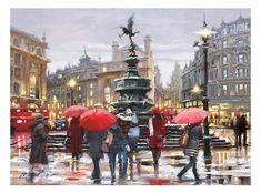 'Piccadilly' by Richard Macneil - a new artist recently added to the Indigo Collection. London Painting, Street Painting, Rainy City, Christmas Card Images, Urban Painting, Art Terms, Umbrella Art, City Scene, Beautiful Paintings