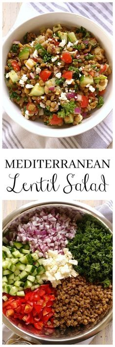 Healthy Recipes Mediterranean Lentil Salad with an easy homemade vinaigrette (or use prepared) and fresh, crisp vegetables. - Mediterranean Lentil Salad with an easy homemade vinaigrette (or use prepared) and fresh, crisp vegetables. Veggie Recipes, Whole Food Recipes, Vegetarian Recipes, Cooking Recipes, Healthy Recipes, Lentil Salad Recipes, Soup Recipes, Dinner Recipes, Easy Lentil Recipes