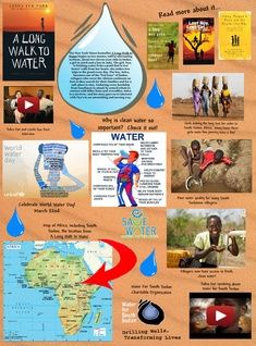 """Glogpedia internet poster """"A Long Walk to Water"""" A Long Walk To Water Lessons, Lost Boys Of Sudan, 6th Grade Ela, Water Activities, Water Resources, World Water Day, Literature Circles, Book Projects, Read Aloud"""
