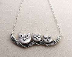 Owl family necklace sterling silver owl jewelry by lulubugjewelry, $85.00