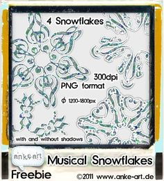 4 digital snowflakes made of musical symbols. Have fun!