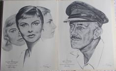 Academy Awards Vintage Charcoal Portrait by DaysofYoreTreasures