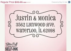BLACK Friday CUSTOM ADDRESS Stamp Self inking - personalized wedding gift, return address stamp, custom address label, modern fancy border