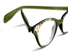 Green & Gold Vintage Cat Eye Glasses