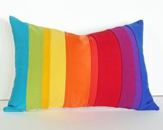 Rainbow Color Block Pillow, Gradient Colorful Striped Throw Cushion Covers,  Unique, Eco Chic, Oblong, Color Band, Color Blocked 14x20