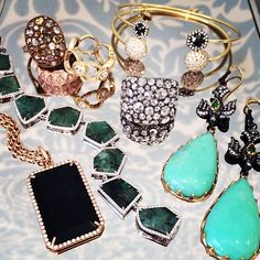 Sooo many gorgeous designers all in one place!#rosecuts #chrysoprase #onyx #diamonds #naturalcolored diamonds #emerald #rings #bracelets #gold #black diamonds #bangles #rosegold @singlestonemissionstreet @armansarkisyanjewelry @Irene Neuwirth @JEMMA WYNNE @Norman Covan
