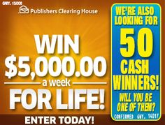 Instant Win Sweepstakes, Online Sweepstakes, Win For Life, Winner Announcement, Publisher Clearing House, Winning Numbers, Enter To Win, God Loves You, Supreme