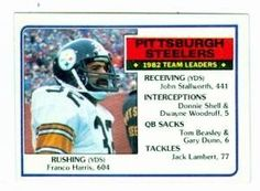Franco Harris football card (Pittsburgh Steelers) 1983 Topps #355 by Hall of Fame Memorabilia. $31.95. Franco Harris football card (Pittsburgh Steelers) 1983 Topps #355. Signed items come fully certified with Certificate of Authenticity and tamper-evident hologram.