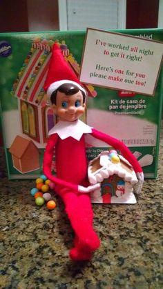 Elf on the Shelf makes gingerbread house!