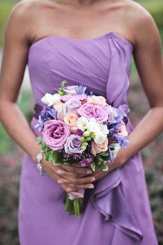 Purple and Peach Bridesmaid Bouquet   Love Blooms   Raiza Vega Photography   TheKnot.com