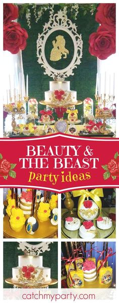 Take a look at this wonderful Beauty and the Beast birthday party! The dessert table is so elegant!! See more party ideas and share yours at CatchMyParty.com #partyideas #catchmyparty #beautyandthebeast #princess