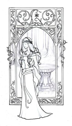 "Mucha style - "" #GaladrielLineart"" Illustration in style of ""Alphonse Mucha"" by ""Achen089"" on @deviantART"