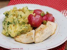 Forellenfilets mit Butter-Radieschen und Radieschenblatt-Kartoffelstampf