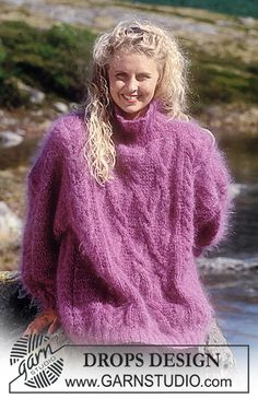 """DROPS - Drops sweater with cable pattern in """"Vienna"""". Short or long version. - Free pattern by DROPS Design Aran Knitting Patterns, Knitting Kits, Free Knitting, Drops Design, Gros Pull Mohair, Angora Sweater, Cardigan Pattern, Free Pattern, Knit Crochet"""