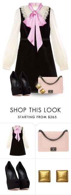 """""""Gucci Velvet Dress"""" by majezy ❤ liked on Polyvore featuring Gucci, Chanel, Giuseppe Zanotti and Gurhan"""