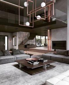 Home Room Design, Dream Home Design, Modern House Design, Modern Interior Design, Interior Architecture, Living Room Designs, Luxury Modern House, Modern Residential Architecture, Luxury Loft