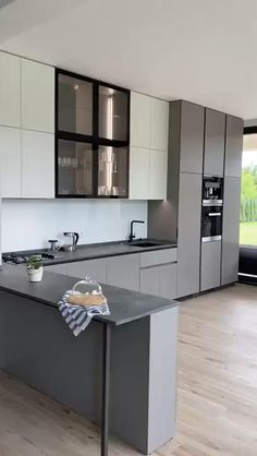 Kitchen Pantry Design, Luxury Kitchen Design, Modern Kitchen Cabinets, Contemporary Kitchen Design, Interior Design Kitchen, Dark Cabinets, Modern Grey Kitchen, Small Modern Kitchens, Diy Kitchens