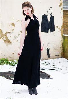 Vintage 70s Ossie Clark Moss Crepe Goddess Dress