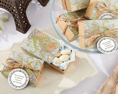 """World Map Favor Box - Vintage Wedding Favors by Kate Aspen 