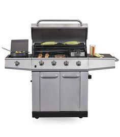 For excellent cooking, consider the Kenmore 16135 ($600). The four even-heating burners grilled steak and chicken with no flare-ups. This stainless stunner has a side burner and storage, and it rolls easily on four wheels. The Kenmore 02579797 ($300, not pictured) offers good grilling for less cash.  - GoodHousekeeping.com