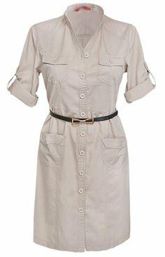 Glamour Empire Women's Mandarin Collar Combat Style Shirt Dress w/ Pockets 096 at Amazon Women's Clothing store