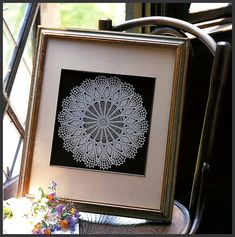 Framed doily - link goes nowhere except to bigger pic but… I need to do this with my mothers and aunts work...