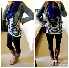 Denim jacket with stripes and a pop of color