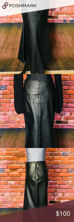 Genuine Black Leather Mermaid Skirt Beautiful Black Leather Mermaid Skirt! This genuine long leather mermaid skirt is a stunner! Purchased in Switzerland at H&M they don't make em' like this anymore, and my pics don't do it justice. This is a classic wardrobe staple that can be worn for many years to come.  Product Details: *Side zipper *Mermaid style with longer back panel *Lining  Sizing and Fit: Size 6  Fabric and Care: 100% Leather Dry Clean Only H&M Skirts Maxi