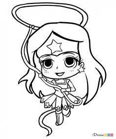 How to Draw Wonder Woman, Chibi Superheroes Wonder Woman Chibi, Wonder Woman Drawing, Wonder Woman Party, Kawaii Disney, Cartoon Drawings, Easy Drawings, Teach Kids To Draw, Drawing Superheroes, Batman Drawing