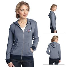 District Made DM490 Ladies' Mini Stripe Full-Zip Hoodie | Embroidered Logo District Made Zippered Hoodies