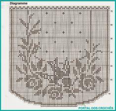 Kira Scheme Crochet: Scheme Crochet No. Crochet Curtain Pattern, Crochet Applique Patterns Free, Graph Crochet, Filet Crochet Charts, Crochet Curtains, Crochet Cross, Crochet Round, Thread Crochet, Crochet Doilies