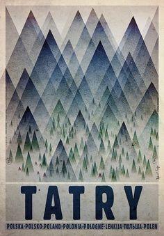 Tatry - Tatra MountainsCheck also other posters from PLAKAT-POLSKA Original Polish poster designer: Ryszard Kaja year: Graphic Design Illustration, Graphic Art, Vintage Graphic, Polish Movie Posters, Graphisches Design, Mountain Designs, Kunst Poster, Poster Ads, Art Graphique